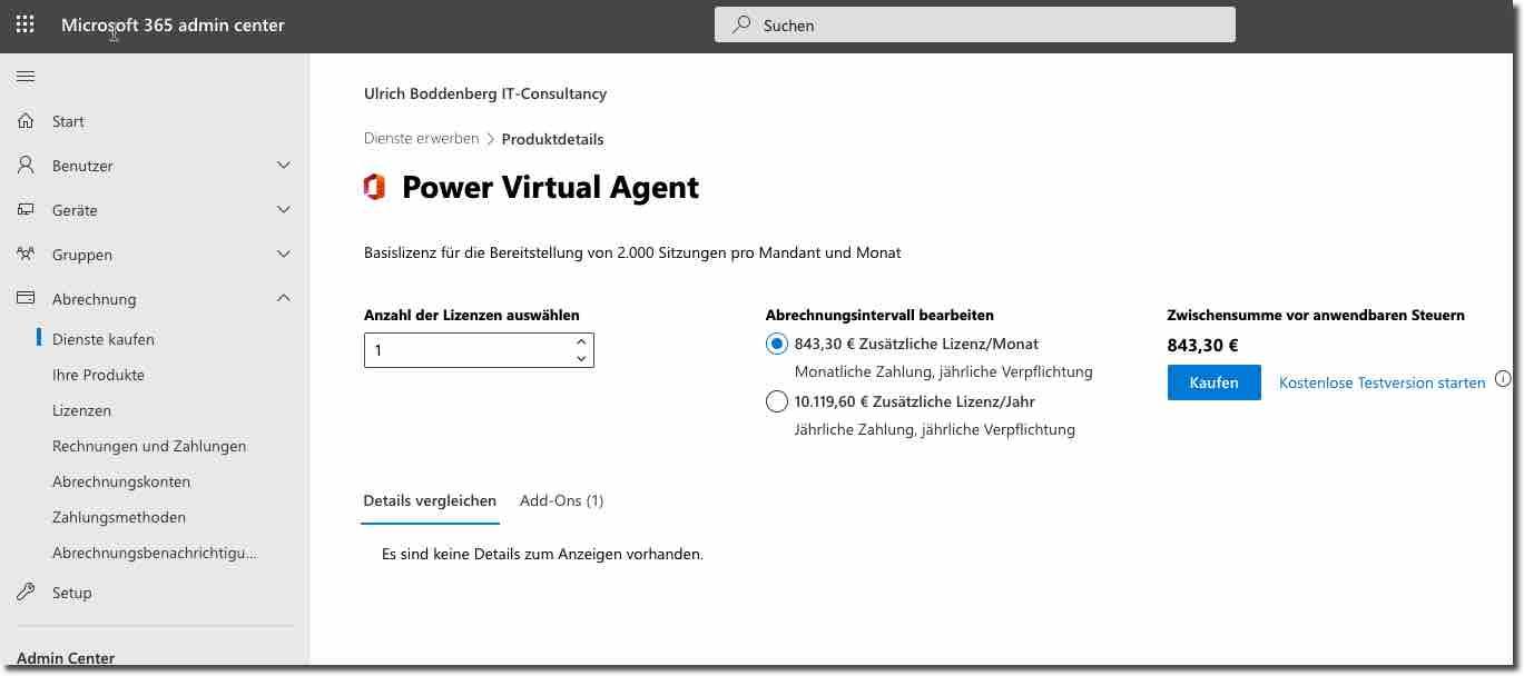 Lizenzierung der Power Virtual Agents