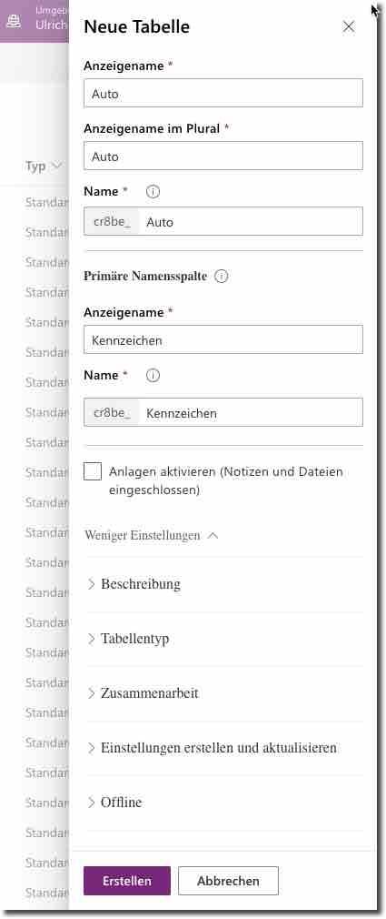 Erzeugen einer neuen Tabelle in Microsoft Dataverse