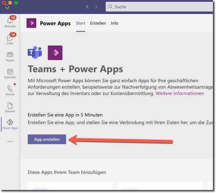 Diese App muss in Teams installiert werden