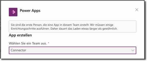Legen Sie fest, in welchem Team die App erstellt werden soll