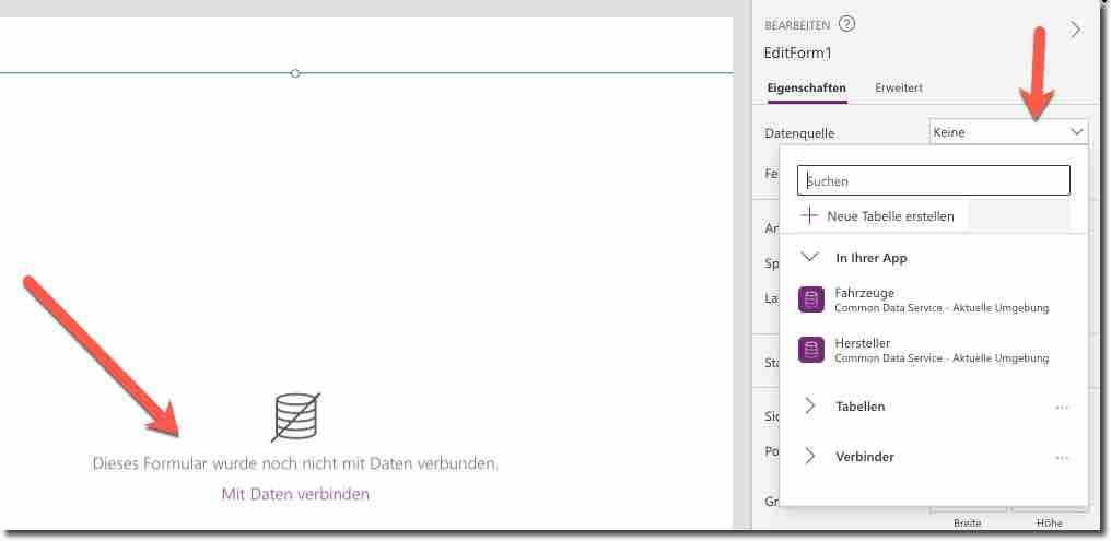 Die Verbindung zur Dataverse-Tabelle muss hergestellt werden, um die Detail-Bearbeitung zu initiieren